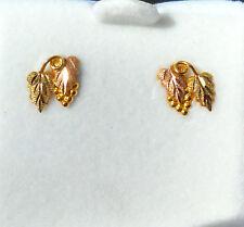 Landstrom's Original Black Hills 10K Gold Grape/Leaf Earrings w/ 14K Gold Post