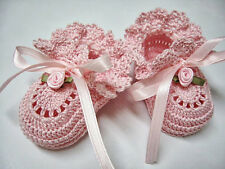 Crochet Baby Booties Pink with Pink Rose Baby Girl