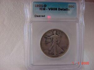 1921-D 50c Walking Liberty SILVER Half Dollar ICG VG8 RARE