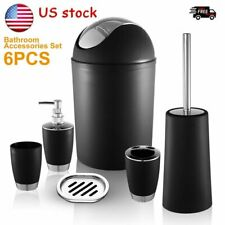 6Pcs Matching Shower Bathroom Accessory Set Soap Dish Dispenser Bin Brush U