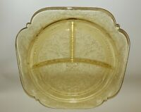 Vintage Yellow Depression Glass - Madrid - Divided Dinner Plate