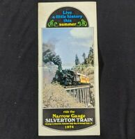 Vintage 1974 Durango To Silverton Colorado Narrow Gauge Train Ride Brochure Info