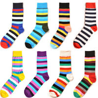 NEW Fashion Men's Cotton Socks Warm Multi Color Fancy Striped Casual Dress Socks