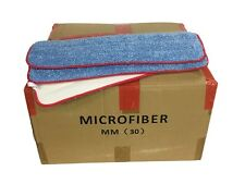 """100 Case 18"""" Looped Microfiber Mop Pads Wet Dry Refill 400GSM (Blue/Red)"""