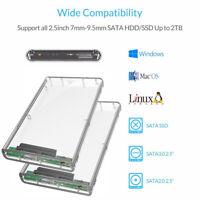2.5'' HDD Case Transparent SATA to USB 3.0 Adapter External Hard Drive Enclosure