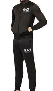 New Mens EA7 Full Tracksuit Jacket Pants 6GPV58 PJ08Z Black Size M