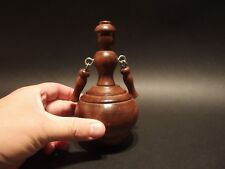 Antique Vintage Style Turned wood doll Spinning Top Toy w Cloth Bag