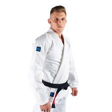 Manto Base BJJ Gi White Blue V2 Brazilian Jiu Jitsu Uniform Kimono Free Belt
