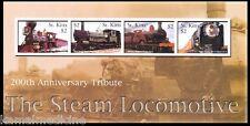 Trains, Steam Locomotives 200th Ann. , St Kitts 2004 MNH 4v SS  - T18