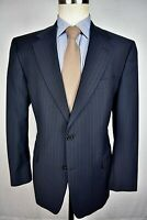 Hart Schaffner Marx Black/Blue Striped Wool Two Button Two Piece Suit Size: 42S