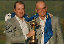 Thomas BJORN & Peter HANSON SIGNED Autograph 12x8 Photo AFTAL COA RYDER CUP Win