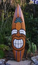 "Happy Tiki Pineapple tropical Wood Surfboard Wall Plaque Tiki Bar 38"""