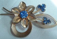 VINTAGE GOLDTONE BLUE RHINESTONE FLOWER SPRIG BROOCH SASH PIN IN GIFT BOX