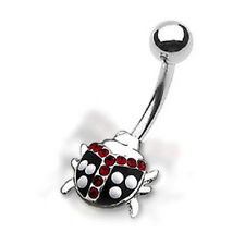 TJS Black Lady Bug Cute Sexy Fancy Navel Ring Belly Bar Non Dangle Red White