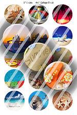 Pre-Cut Bottle Cap Images Beach Scenes 2 Collage Sheet R423 - 1 Inch Circles