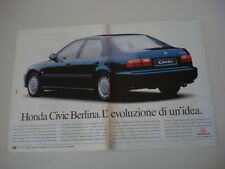 advertising Pubblicità 1992 HONDA CIVIC BERLINA
