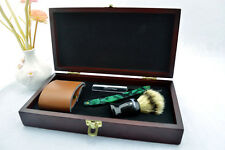 Green Cut Throat Straight Razor Bristles Shaving Brush Strop Wooden Box Gift Set