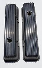 Tall Chevy Nostalgic BLACK Aluminum Finned Tall Valve Covers 350 400 SBC VINTAGE