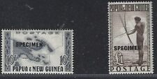 PAPUA & NEW GUINEA 1952 DEFINITIVES Sc135/6 V$125 OVERPRINTED SPECIMEN MNH J2670