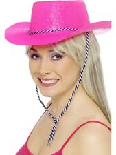 Cowboy Glitter Hat Neon Pink With Cord Plastic AC