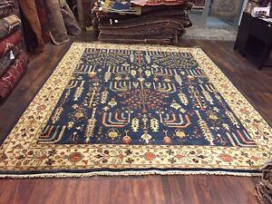 "On Sale Genuine Hand Knotted Indo Oushak Geometric Area Rug Carpet 9'x11'7"",#23"