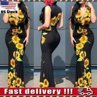 Women Ladies Sunflower Print Sleeveless Plunge Bodycon Long Maxi Dress Size S-XL