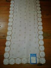 Nos Vintage Sleater Schiffli Embroidered Table Runner Doily 15x61 1D