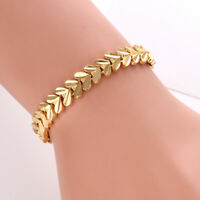 "Women's Bracelet 7.5"" Chain Charm Link 18K Yellow Gold Filled Fashion Jewelry"