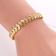 "Women's Charm Bracelet 7.5"" Link Chain 18K Yellow Gold Filled Fashion Jewelry"