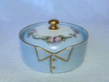 1919*ANTIQUE W. GUERIN LIMOGES FRANCE STUD COLLAR BUTTON BOX*HAND PAINTED*ROSES