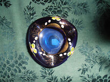 "Vintage. Hand-Blown, Hand-Decorated, Cobalt  Blue Glass ""Ashtray"""