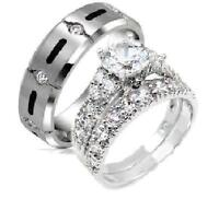 His and Hers Wedding Rings 3 Pc Sterling Silver & Titanium Cz Wedding Ring Set