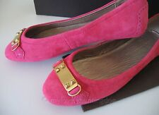 NIB Auth Elie Tahari Madison Suede Ballet Flats Driving Shoes Sz 37 M Pink Gold