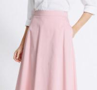 M&S Ladies Skirt Pink Cotton Stretch Pull On Aline Midi 18R BNWT Marks Classic