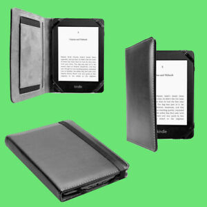 """Black Leather Case Cover with Hand Grip Holder for All-New Amazon Kindle 6"""""""