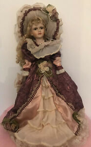 """Vintage Style Exquisite China Doll With Stand. 22""""Tall By The Curzon Collection"""
