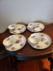 Vintage Lefton Hand Painted Violet Snack Plate & Tea Cup set of four