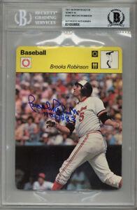 BROOKS ROBINSON SIGNED #16-07 SPORTSCASTER CARD ORIOLES ENCAPSULATED BECKETT BAS