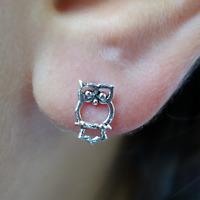 Pair of 925 Sterling Silver Owl Stud Earrings Ear Studs Ladies Girls Jewellery