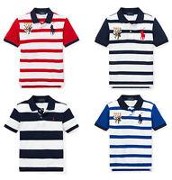 Ralph Lauren Kids Boys Striped Short Sleeves Polo Collar T shirt Top 5 6 8 10 12