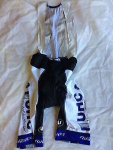 United Healthcare Men's Bib Shorts Size Medium Cycling EUC White, Blue and Black