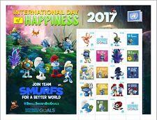 UNO WIEN - 2017 GRUSSMARKEN BOGEN GLÜCK HAPPINNESS 956-65  - SCHLÜMPFE SMURFS **
