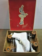 Vintage Betty Lytle Hyde Roller Skates Size 7-1/2 White Leather Original Box