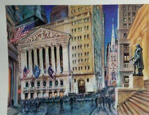 A NIGHT ON WALL STREET  KAMIL KUBIK PRINT/ ART NY STOCK MARKET / EXCHANGE