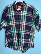 Woolrich Mens XL Flannel Short Sleeve Button Down Shirt Multicolor Plaid Cotton