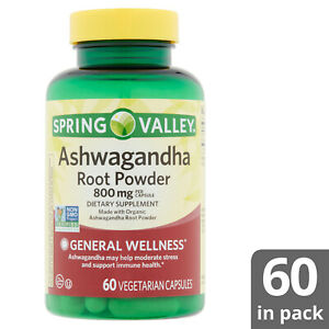 Spring Valley Ashwagandha Root Powder 800mg  60 Vegetarian Capsules Vegan Halal