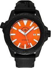 Zeno Men's Divers Orange Dial Black Rubber Strap Automatic Date Watch 6603-BK-A5
