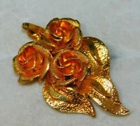 Adorable Vintage Shiny Gold Tone Roses Brooch Pendant 12K 78