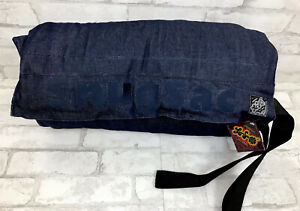 New With Tags Rare! Vintage Lovesac Snugsac Tailgate Blanket - Blue Denim Brown