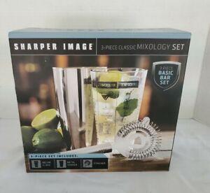 Sharper Image Mixology Set Metal Cocktail Shaker Strainer & Recipe Glass Bar Set